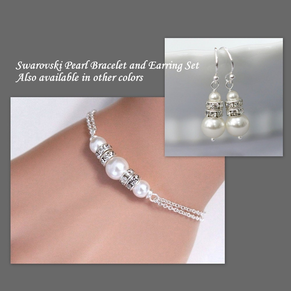 Bridal Jewelry Gift Sets : Bridesmaid Gift Bracelet and Earring Set Bridesmaid Jewelry