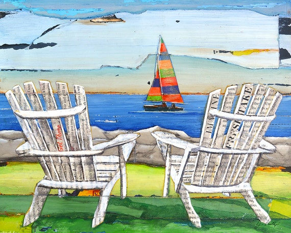 adirondack chairs sailboat beach lake art print or canvas coastal