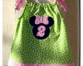 Minnie Mouse Appliqued Birthday Dress ready for Personalizing, Second Birthday Dress, Pillowcase Dress