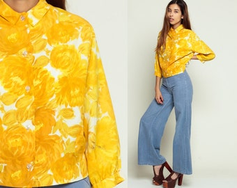 Floral Blouse 60s Blouse Print HIGH NECK Collar Shirt Cropped Top Button Up MOD Yellow Boho Top 1960s Vintage 3/4 Sleeve Medium Large
