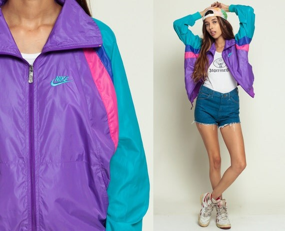 Nike Jacket 80s Windbreaker Jacket Nylon Shell Jacket Purple