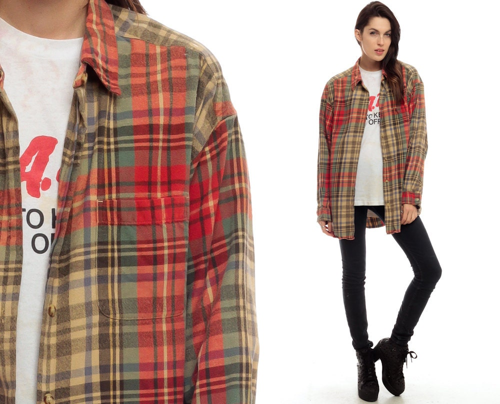 90s Plaid Shirt Oversized Red Flannel Shirt Green Tan By