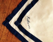 """White Linen Handkerchief with Navy Border and """"Katherine"""" Monogrammed in Navy."""