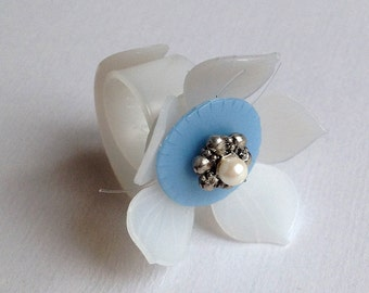 Upcycled plastic adjustable  flower ring