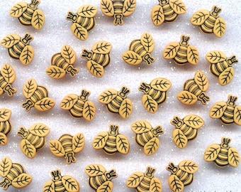 TINY BEES - Bumble Honey Garden Nature Summer Novelty Dress It Up Craft Buttons