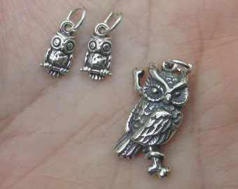 Sterling Silver Owl Charms (Large or small)