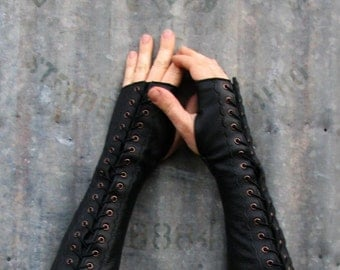 Long Distressed Black Leather Steampunk Fingerless Gloves w Antiqued Brass Eyelets and Black Lacing