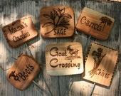 5 Cedar Garden Signs- Wooden Natural Garden Sign- Wood Plant Markers- Natural Garden Decor