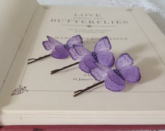 Hand Cut silk butterfly hair pin - Lavender Sparkles