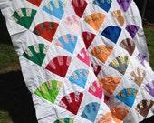 Vintage Rainbow Fan Quilt Top 71x94