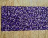 "Deep Purple with Gold Metallic Scrolls 100% Cotton Fabric Remnant 12"" X 45"""