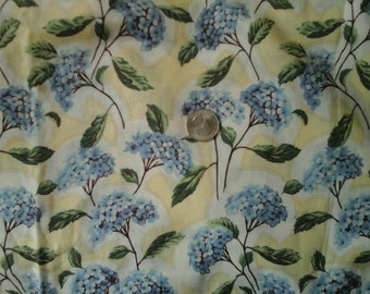 Art Nouveau Romance Blue Hydrangea Pale Yellow Background  100% Cotton Fabric by RJR Fashion Fabrics 1 yd x 44""