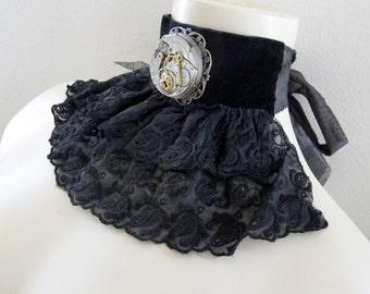 Steampunk EGL Necklace, Choker, Bib or Fabric Cuff Bracelet with Vintage Pocket Watch Movement and Black Chiffon Lace