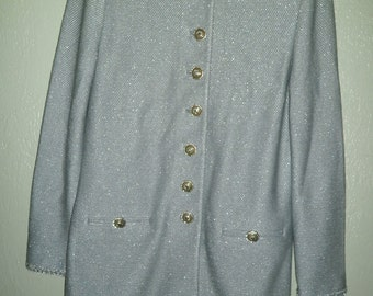 ST. JOHN Couture Size 2 Knit Jacket Silver Sparkle Button Front Tunic Style; Mandarin Collar