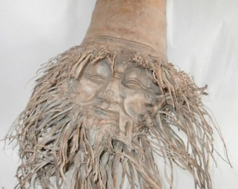 Face Mask Wall Hanging -Vintage Bamboo Root Face Mask- Carving/Hidden Shelfs