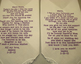 2 Poem handkerchiefs - FREE SHIPPING -for mom, dad, mother-in-law set of 2 handkerchiefs machine embroidered