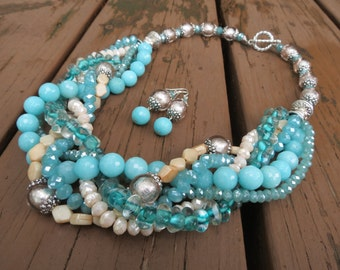 Teal, Aqua and Cream Colored Braided Necklace with Jade, Glass and Crystals