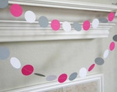 Hot Pink White Gray Paper Garland, Hot Pink Gray Wedding Garland, Girl 1st Birthday Party Decor, Pink Smash cake Decorations, Pink Nursery