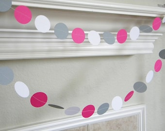 Hot Pink White Gray Paper Garland, Hot Pink Gray Wedding Garland, Girl 1st Birthday Party Decor, Pink Smash cake Decorations, Pink Nursery