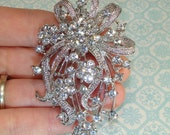 Rhinestone Brooch Pin Back Approx 3in Silver Pin with Crystals Style 19 Brooch Bouquet Jewelry Supplies Hat Pin Accessory Spray Brooch