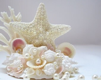 Beach Cake Topper, Beach Wedding Cake Topper, Starfish Cake Topper, Seashell Cake Topper, Nautical Cake Topper - Jungle Starfish - #CTJC