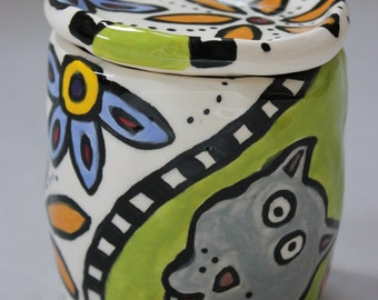 Handmade Dog and Cat Cup With Lid Item 1226 - Custom Pieces Available Upon Request