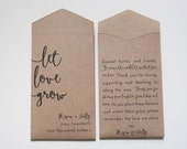 Kraft Let Love Grow Custom Seed Packet Wedding Favors - Personalized Seed Envelope - Rustic Wedding Favor - Many Colors Available - #b101