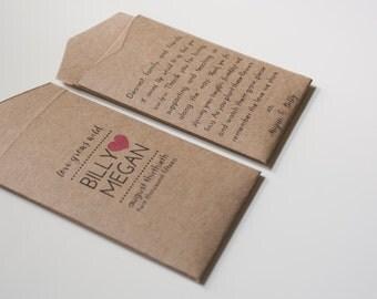 Rustic Love Grows Wild Seed Packet Wedding Favor Envelopes