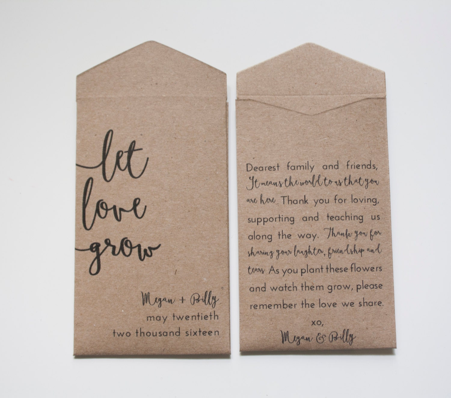 Custom Seed Packet Wedding Favor Kraft Let Love Grow