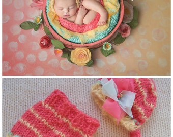 Skirt Bonnet Summer Set Baby Girl Newborn Photo Prop Knitted Coral Yellow Hand Knit Going Home Outfit Coming Easter Photography Organic Hat