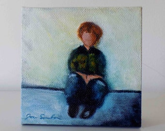 Waiting - Small Original Painting On Canvas