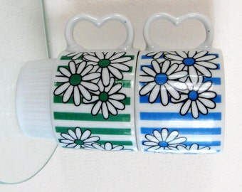 Vintage Floral Coffee Cups Daisy Mug Stacking Ribbed Blue Green Set of Two