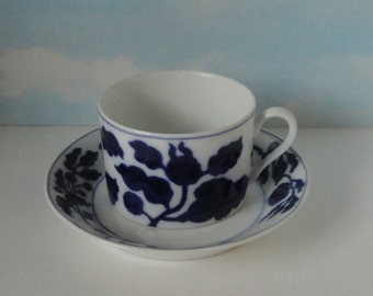 1977  FITZ and FLOYD  Floral Indigo Cup and Saucer.