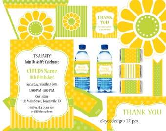 Yellow and Lime Green Party Kit  - 12 pcs - Instant Download editable invitation