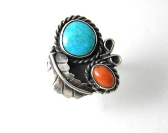 Vintage Navajo ring, turquoise ring, silver ring, turquoise coral ring, estate navajo ring, native american, tribal ethnic, southwest ring