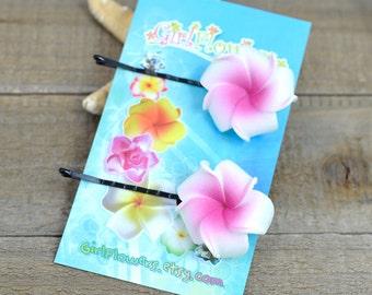 Floral Hair  Pins, 1 inch Flower,   Floral Hair Pins, Bobby Pins, Plumeria