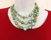 Vintage Beaded Strand Necklace, Made in Japan, Green Necklace, Strand Necklace, Dressy Necklace, Dressy Jewelry, Jewelry Accessories