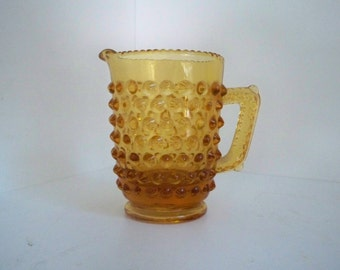 Vintage Collectible Amber Glass Miniature Pitcher Hobnail Pitcher