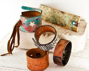 BULK SALE Leather Jewelry Cuff Bracelet Lot - Quantity Discount Low Price - Christmas Holiday Gifts