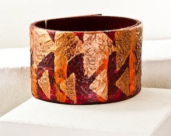 Folk Art - Leather Cuff - Leather Bracelet - Red Orange Bronze - Leather Wristband - Leather Jewelry - 2016