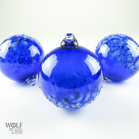 Blown Glass Ornament Suncatcher Sapphire Blue Blossom Glass Bulb Ornament