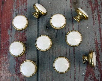 Vintage round brass and porcelain furniture handles - price for 1 handle