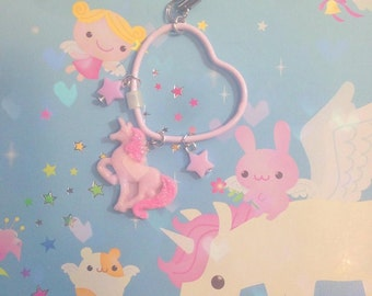 unicorn pink heart charm planner diary kikk k hand made