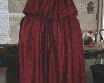 Handmade Panne Velvet Renaissance Medieval Hooded Cloak Cape Wicca Witchcraft Cosplay Halloween Costume