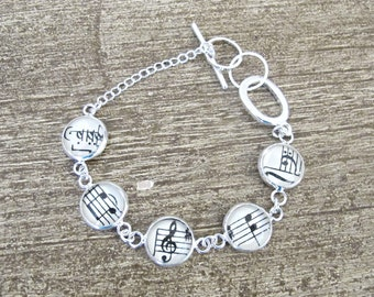 Music Bracelet. Vintage Sheet Musician Musical Notes. Treble Clef Bass Two Cheeky Monkeys Jewelry. Jewellery Silver Charm Quirky Geekery