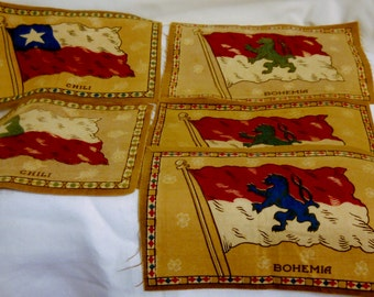 Lot 5 Vintage Patches Flag Pieces Souvenir Czech Bohemia and Chile