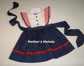 Size 1T to 4T Patriotic Pinafore Dress or Jumper with rick rack trim. Made to Order.