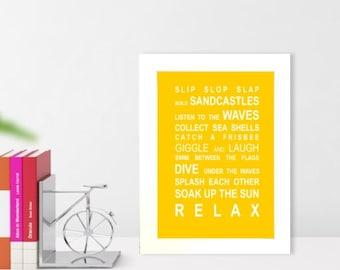 A5 unframed wall art print Beach Rules typography bus roll