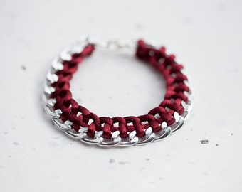 Marsala Chain Braided Bracelet Burgundy Dark Red Cord friendship silver gold bracelet Modern minimalist jewelry
