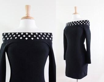 SALE Vintage Body Con Off The Shoulder Black Mini Dress